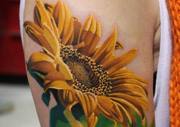Солнечные татуировки подсолнуха0