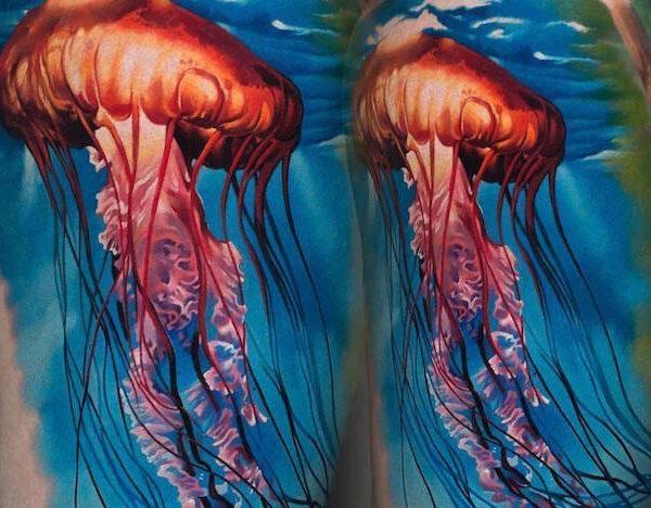 Красивые и яркие татуировки медуз0