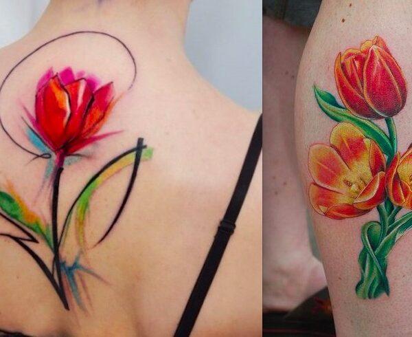 20 красивых тату тюльпан для девушек0
